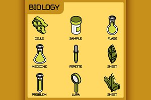 Biology color outline isometric icon