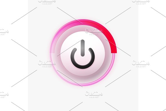 Power Button Technology Logo Digital Art Techno Concept On Off Icon