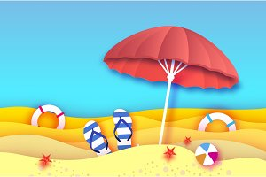 Red parasol - umbrella in paper cut style. Origami sea and beach with lifebuoy. Sport ball game. Flipflops shoes. Vacation and travel concept.