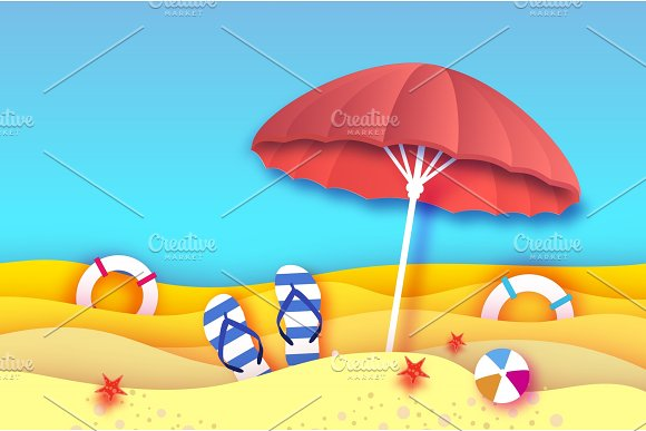 Red Parasol Umbrella In Paper Cut Style Origami Sea And Beach With Lifebuoy Sport Ball Game Flipflops Shoes Vacation And Travel Concept