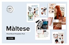Maltese Mood Board Templates Pack by William Hansen in Web Elements