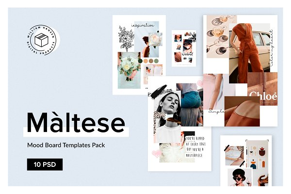 Web Elements: William Hansen - Maltese Mood Board Templates Pack
