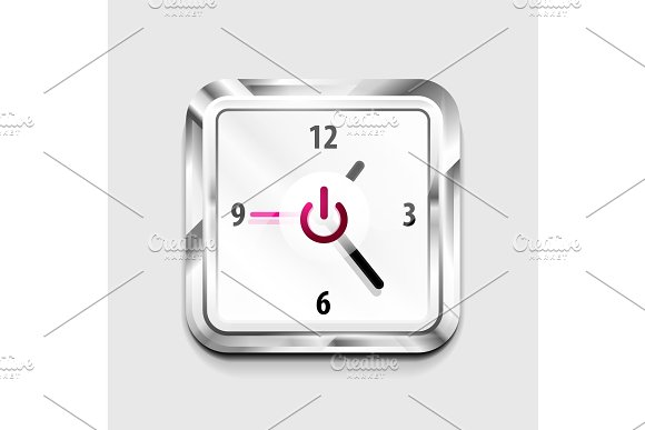 Power Button Technology Logo Digital Art Techno Concept On Off Icon And Time Clock Design
