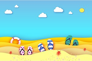 Flipflops shoe in paper cut style. Origami sea and beach with lifebuoy. Sport ball game. Vacation and travel concept.