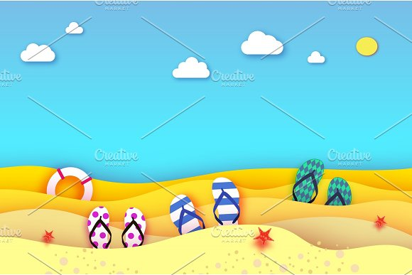 Flipflops Shoe In Paper Cut Style Origami Sea And Beach With Lifebuoy Sport Ball Game Vacation And Travel Concept