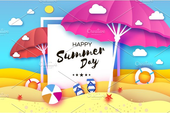 Red And Pink Parasol Umbrella In Paper Cut Style Origami Sea And Beach With Lifebuoy Sport Ball Game Flipflops Shoes Vacation And Travel Concept Square Frame Space For Text