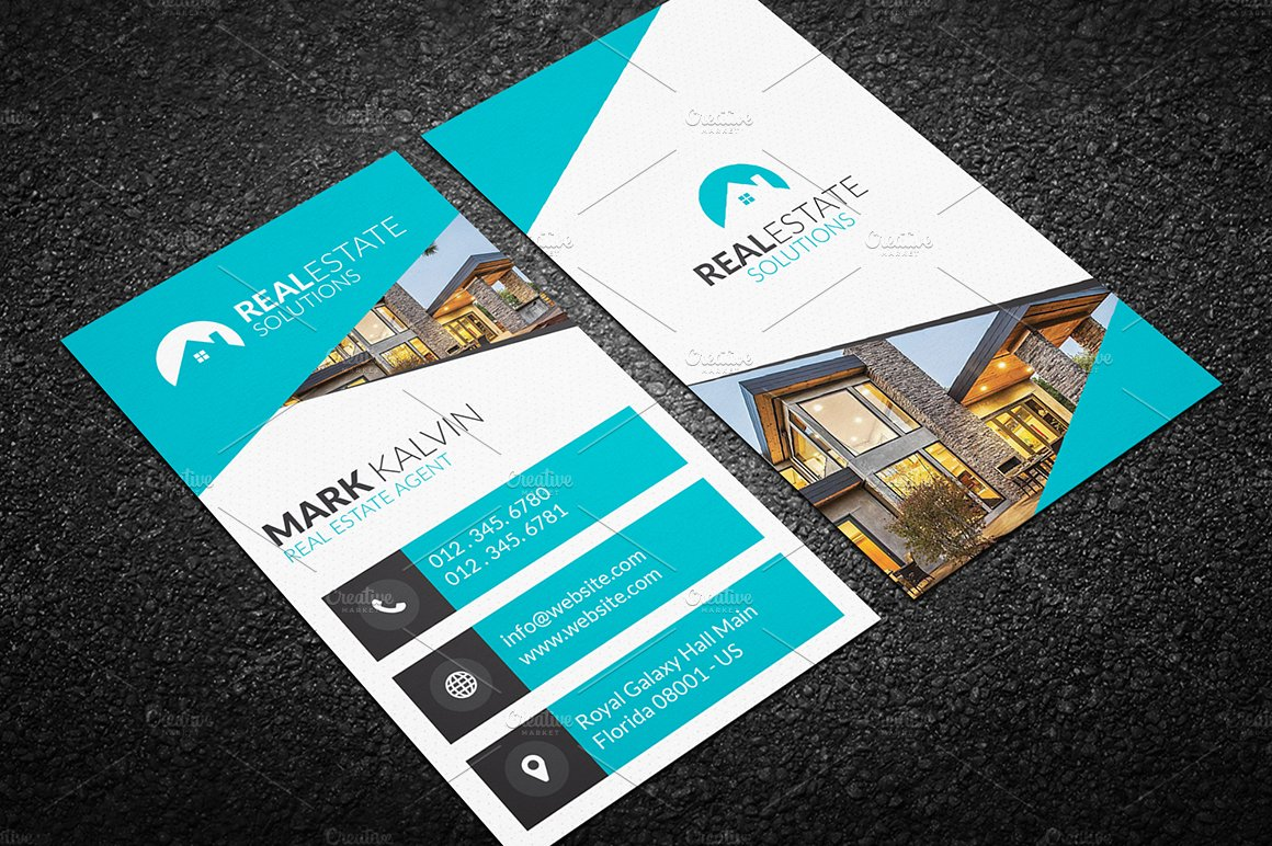 Real Estate Business Card Photos Graphics Fonts Themes - Real estate business card template