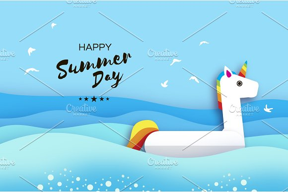 Giant Inflatable Fantasy Unisorn In Paper Cut Style Origami Pool Float Toy Crystal Clear Blue Sea Water Summer Holidays Sunny Days