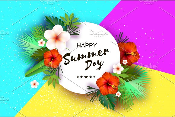 Tropical Summer Palm Leaves Plants Flowers Frangipani Plumeria Red Hibiscus Exotic Paper Cut Art Hawaiian Circle Frame ForText Origami Monstera Jungle Background Special Offer Poster Flyer