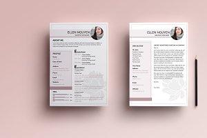 Flower resume&cover letter templete