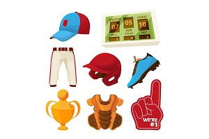 Vector various symbols of baseball