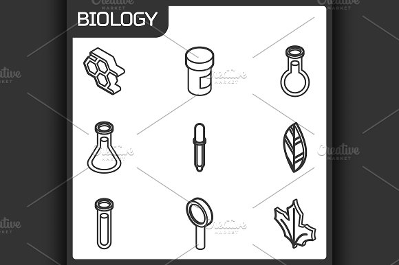 Biology Outline Isometric Icons