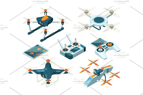 Isometric 3D Pictures Of Drone Copters Quadcopters Or Unmanned Aircrafts