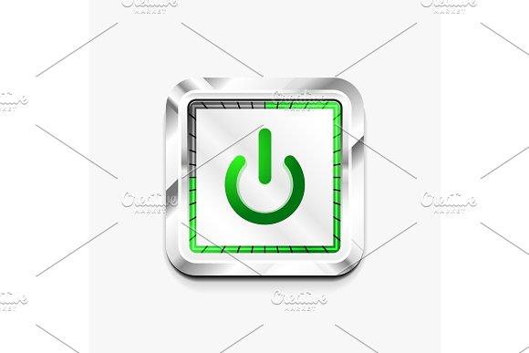 Power Button Technology Logo Digital Art Techno Concept On Off Icon