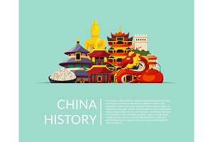 Vector pile of flat style china elements and sights hidden in horizontal paper pocket with shadow and place for text