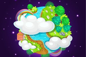 Colorful cartoon fantasy planet