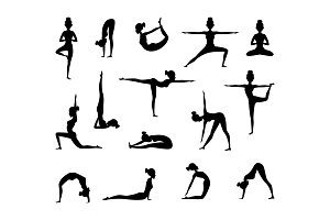 Silhouette of female wich making yoga. Vector collection of sport pictures
