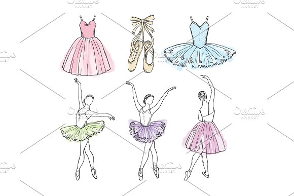 Sketch Vector Pictures Of Different Ballet Dancers Hand Drawn Illustrations Of Ballerinas