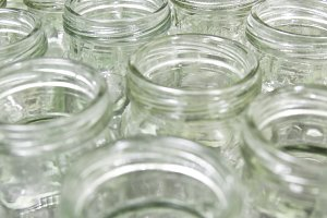 group of empty glass jar in factory