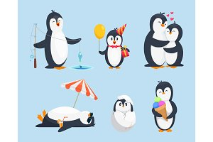 Illustrations of baby pinguins in different poses. Vector cartoon pictures