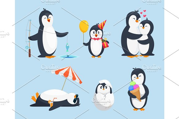 Illustrations Of Baby Pinguins In Different Poses Vector Cartoon Pictures