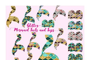 Mermaid Tails and Tops Clipart