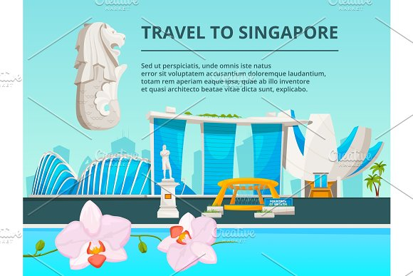 Urban Landscape With Cultural Objects Of Singapore