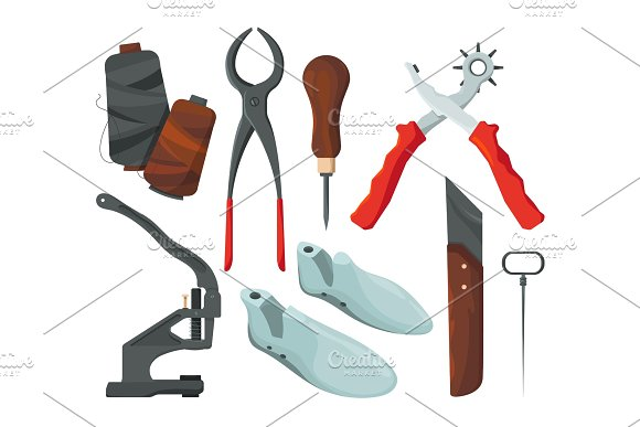 Different Tools For Shoe Repair Vector Pictures In Cartoon Style