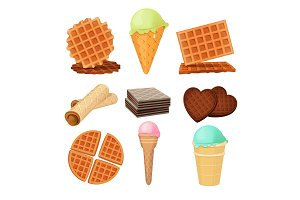 Waffels desserts. Set of vector pictures isolate