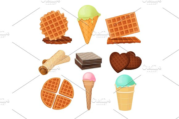 Waffels Desserts Set Of Vector Pictures Isolate