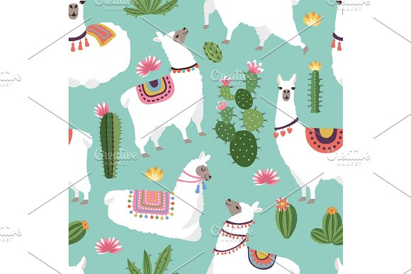 Textile Fabric Seamless Patterns With Illustrations Of Llama And Cactus