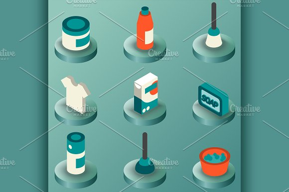 Cleaning Color Isometric Icons