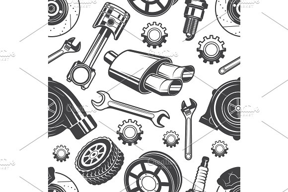 Monochrome Seamless Pattern With Automobile Tools And Details