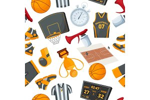Vector seamless pattern at basketball theme. Illustrations in cartoon style