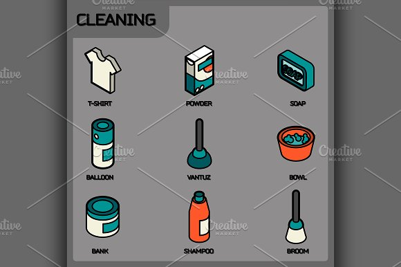 Cleaning Color Outline Isometric