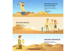Archaeologists conduct excavations of historical values. Horizontal banners