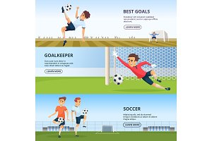 Sport events. Soccer characters playing football. Design template of horizontal banners