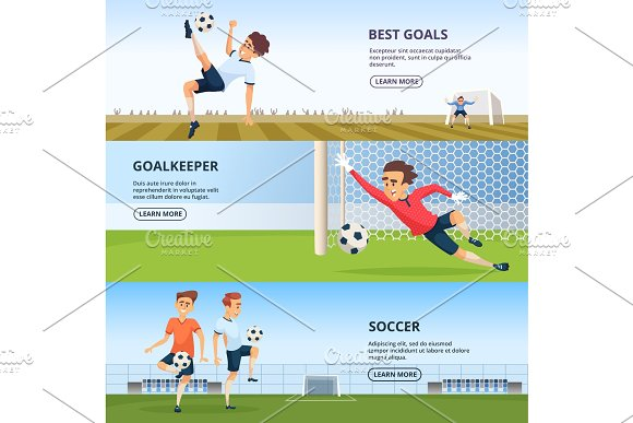 Sport Events Soccer Characters Playing Football Design Template Of Horizontal Banners