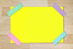 blank paper stuck with colorful tape