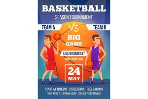 Poster invitation at basketball championship. Design template with place for your text and sport characters