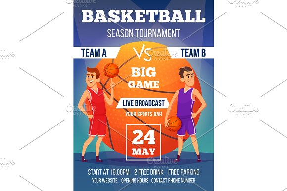 Poster Invitation At Basketball Championship Design Template With Place For Your Text And Sport Characters