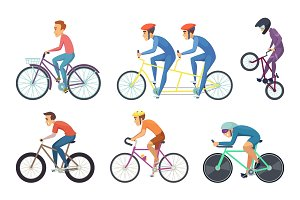 Bicyclist ride various bikes. Funny characters isolate on white background