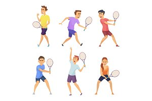 Various tennis players. Vector characters in action poses
