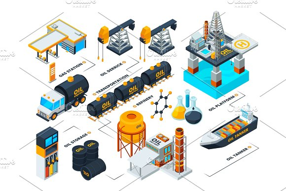Visualization Of All Stages Of Oil Production Isometric Pictures