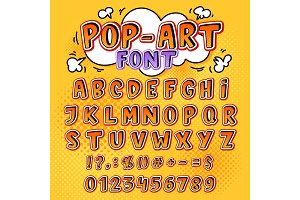 Comic font vector cartoon alphabet letters in pop art style and alphabetic text icons for typography illustration alphabetically popart typeset of abc and numbers background