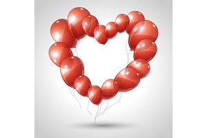 Vector heart made of balloons. Valentine background