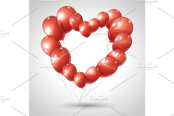 Vector Heart Made Of Balloons Valentine Background