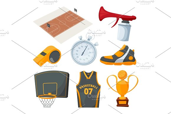 Cartoon Icons Set Of Various Basketball Elements