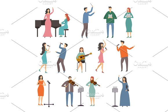 Musician Persons In Different Music Duets Vector Characters Of Singers