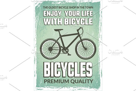 Vintage Poster With Monochrome Illustration Of Bicycle